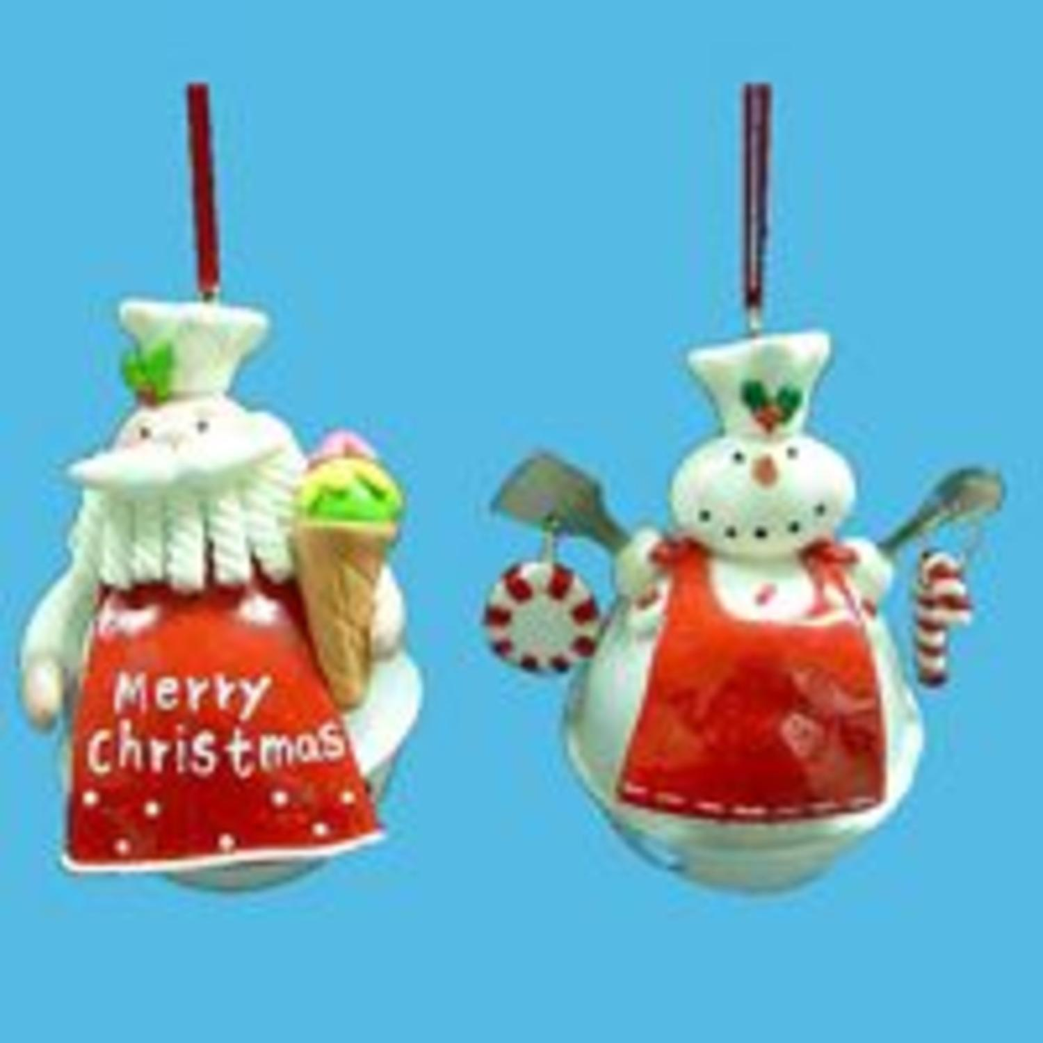 Club Pack of 12 Santa Claus and Snowman Chef on Jingle Bell Christmas Ornaments