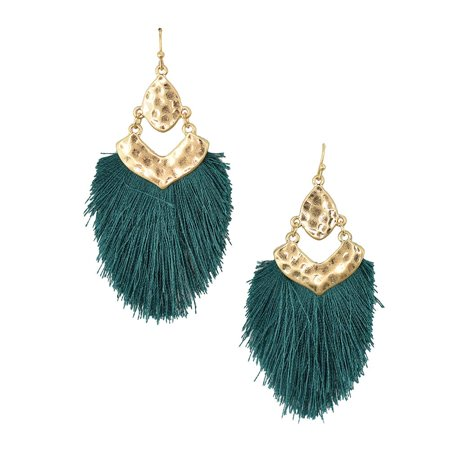 Tassel Drop Dangle Earrings, Teal, 2-1/2-Inch