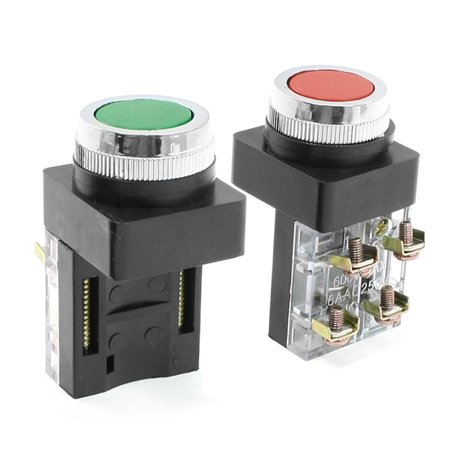 250V 6A Green Red Sign DPST Momentary Push Button Switch Non Lock