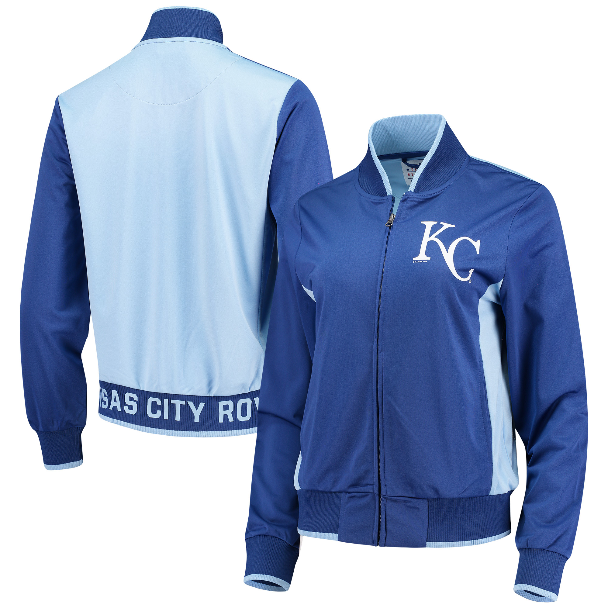 Kansas City Royals G-III 4Her by Carl Banks Women's Triple Track Jacket Royal Light Blue by G-III LEATHER FASHIONS INC