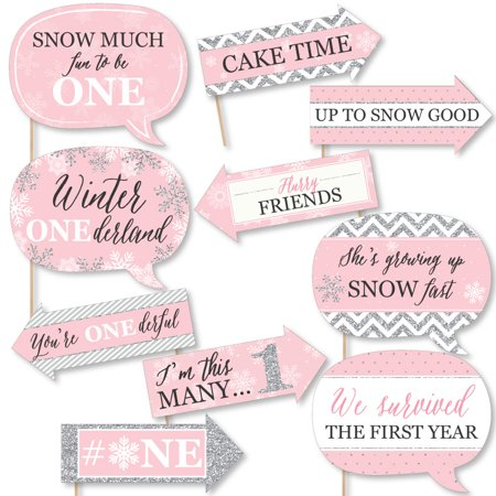 Funny Pink ONEderland - Holiday Snowflake Winter Wonderland Birthday Party Photo Booth Props Kit - 10 Piece