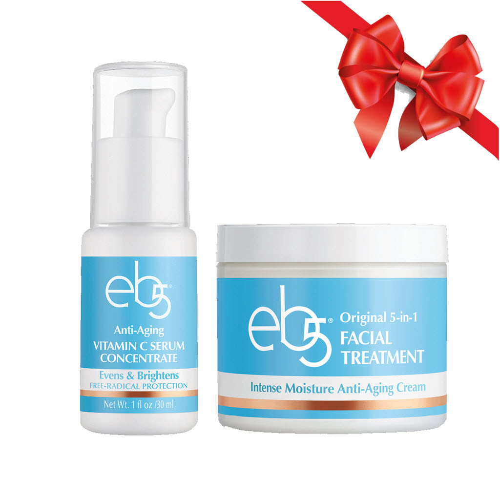 ($40 Value) eb5 Winter Skin Care Kit, Vitamin C Serum and Face Moisturizer