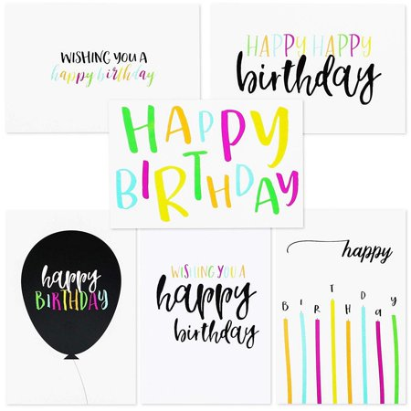 Birthday Cards In Bulk (Sustainable Greetings 144-Pack Blank Happy Birthday Cards Bulk Box Set, 6 Assorted Designs, Envelopes Included, 4 x 6)