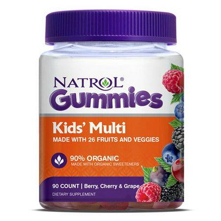 Natrol Kids' Multi Gummies, Berry, Cherry & Grape flavors, 90 Count