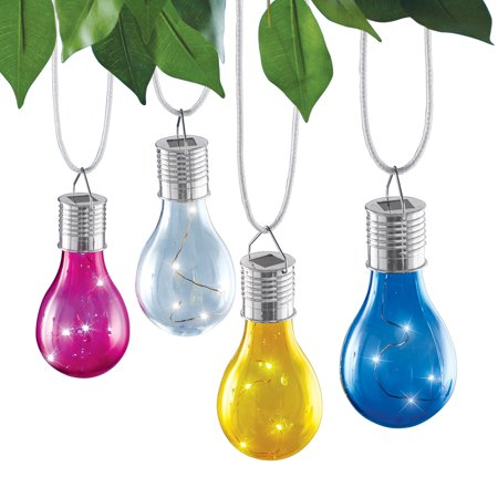 Multicolor Solar Powered Light Bulb Outdoor Hanging Lanterns, Set of 4 ()