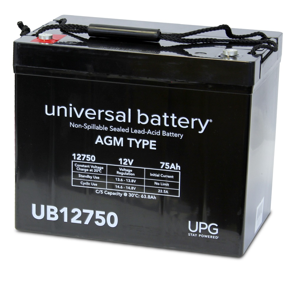 UPSBatteryCenter/® 12V 75Ah M6 Compatible Replacement for UB12750 Group 24 Marine Sealed Lead Acid Battery