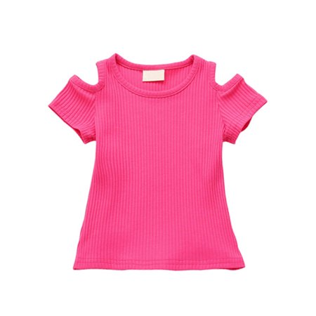 Summer Kid Baby Girl Cut Out Shoulder T Shirt Toddler Short Sleeve Crop Top (Baby Cut Out)