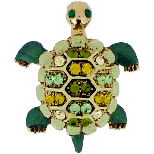 Swarovski Crystal Green Sea Turtle Animal Brooch Pin by