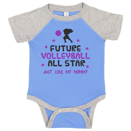 Funny Kids Bodysuit Future Volleyball All Star Just Like My Mommy - Funny Threadz Kids, 0-3 months, Blue & Gray Short Sleeve