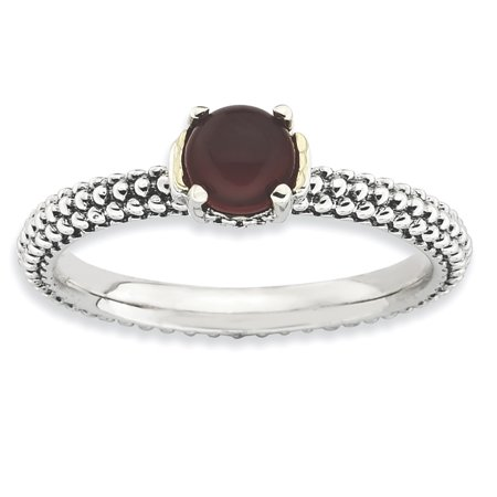 Sterling Silver & 14k Stackable Expressions Red Agate Antiqued Ring Size 9 - image 3 de 3