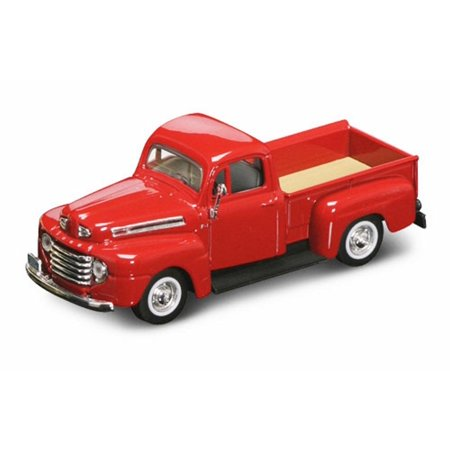 1948 Ford F-1 Pickup Truck, Red - Yatming 94212 - 1/43 Scale Diecast Model Toy (Classic Red Wooden Car)