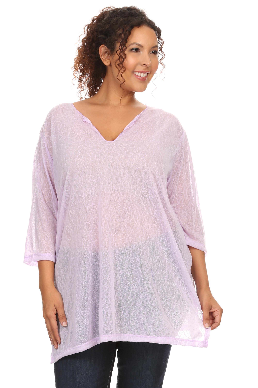 c03ffb58ee SHORE TRENDZ - Plus Size Beach Dress Chiffon Long Sleeve Swimwear Cover-up  Made in the USA - Walmart.com