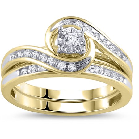 13 carat diamond yellow gold bypass bridal ring set - Gold Wedding Ring Sets