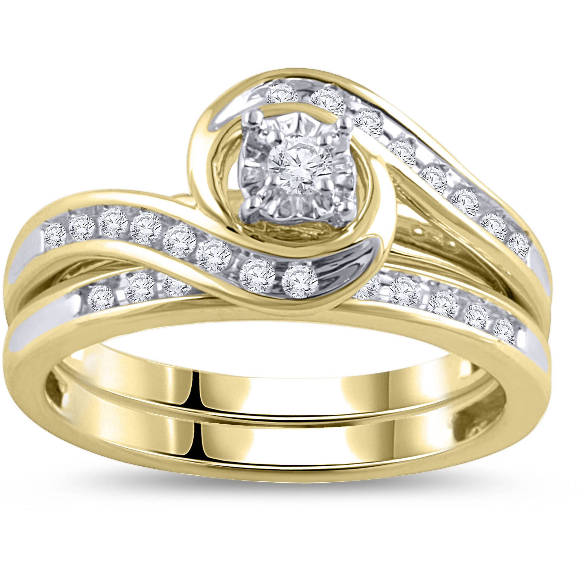 1/3 Carat Diamond Yellow Gold Bypass Bridal Ring Set