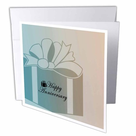 Greeting Card Gift Set - 3dRose Happy Anniversary Gift, Greeting Cards, 6 x 6 inches, set of 12