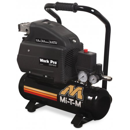 Mi T M Am1 He15 03M Work Pro Series 3 Gallon Single Stage Electric Air Compressor  Hand Carry  1 5 Hp  120V  15 0 A