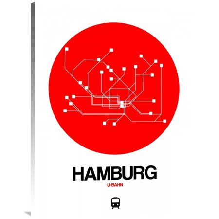Hamburg Subway Map.Naxart Studio Hamburg Red Subway Map Stretched Canvas Wall Art