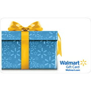 Blue Present with Yellow Ribbon Gift Card