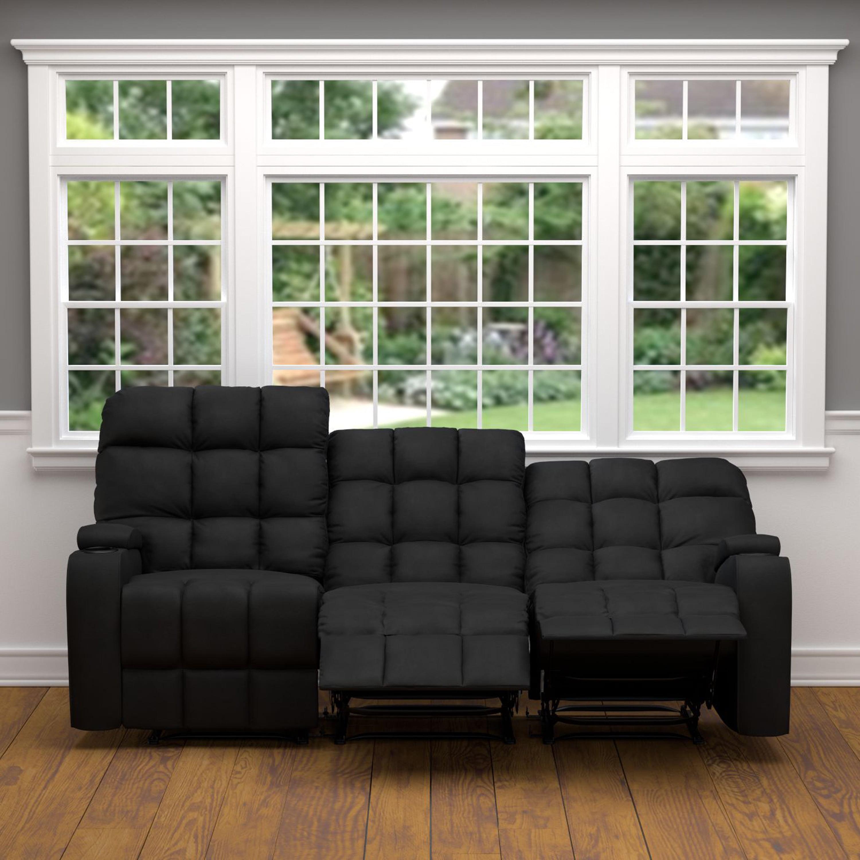 Pleasant Oliver James Saskia Black Microfiber 3 Seat Recliner Sofa Gamerscity Chair Design For Home Gamerscityorg