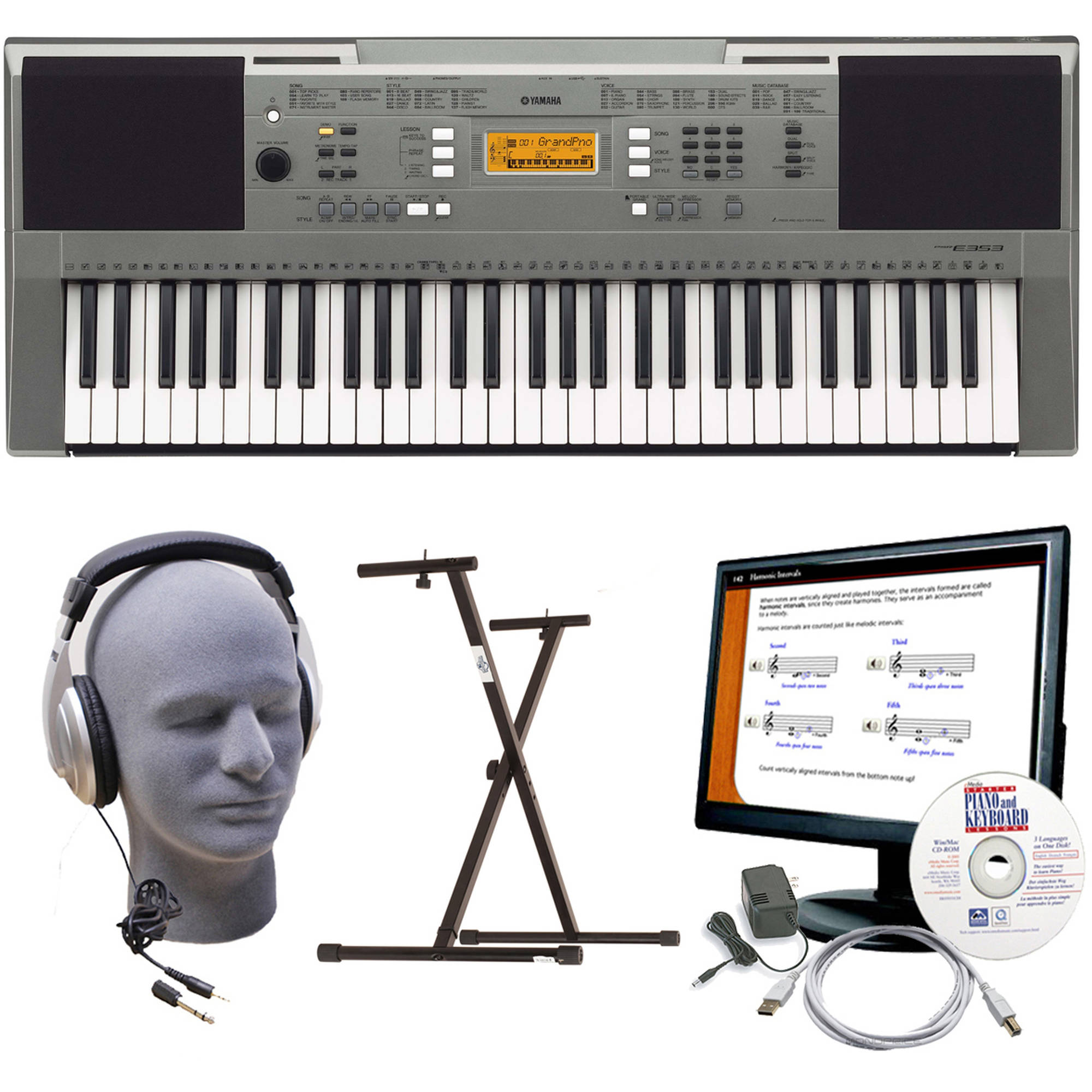 Yamaha PSR-E353 Premium Keyboard Package with Headphones, Power Supply, USB Cable, eMedia... by Yamaha