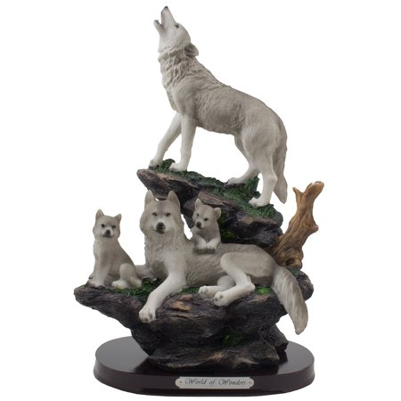 Howling Gray Wolf and Family on a Rock Statue for Decorative Cabin and Rustic Lodge Decor Sculptures by Home
