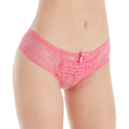 Women's Seven 'til Midnight STM9294 Open Crotch Ruffle Back Lace Boyshort Panty ()