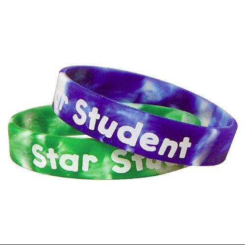 Teacher Created Resources 6572 Two-toned Star Student Wristbands, Assorted Colors, 10/pack