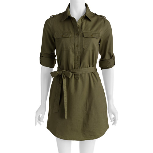 Faded Glory Women's Military Shirt Dress