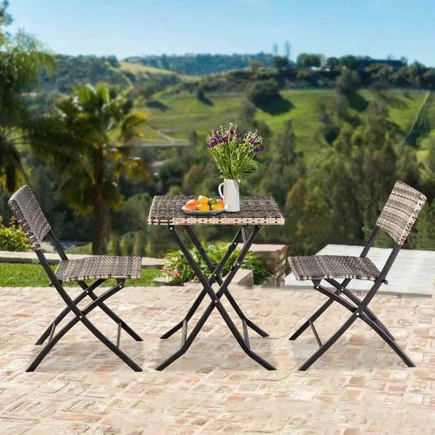 Outdoor Furniture 3pcs Foldable Patio, Folding Patio Furniture Dining Sets
