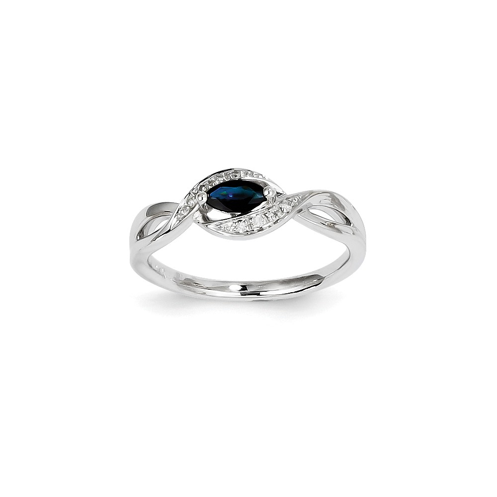 14K White Gold Diamond & Oval Sapphire Gem. Ring by Jewelrypot