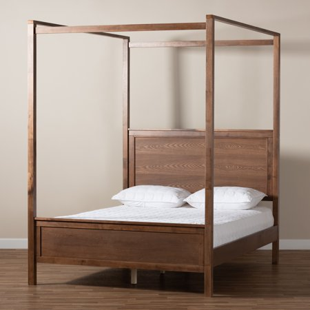 Baxton Studio Veronica Modern and Contemporary Walnut Brown Finished Wood King Size Platform Canopy Bed Set Wood Finish Canopy Bed