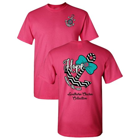 Hope Anchors The Soul Southern Charm Collection on a Light Pink Short Sleeve T Shirt