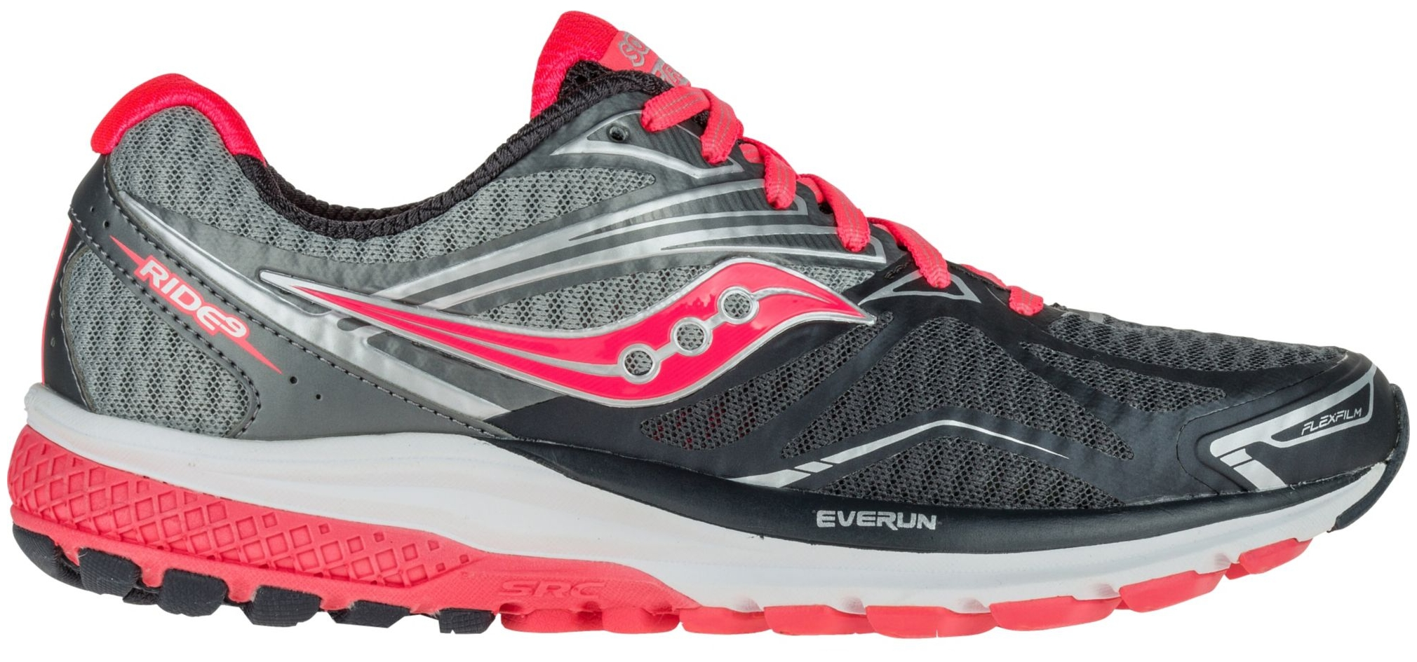 Saucony Women's Ride 9 Running Shoes (Grey Coral, 6.0) by Saucony