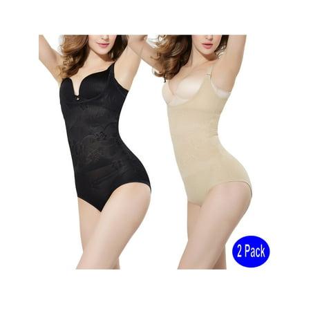 391551c2dbd LELINTA - LELINTA Women s WYOB Body Shaper Waist Trainer Seamless Firm  Control Thigh Slimming Shapewear Bodysuits 2-Pack - Walmart.com