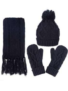 ANDORRA - 3 in 1 - Soft Warm Thick Cable Knitted Hat Scarf & Gloves Winter Set,Navy