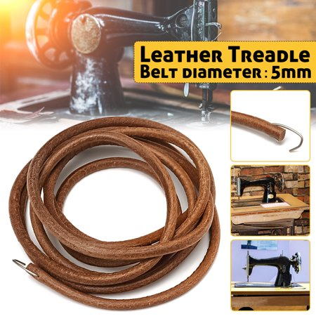 72  Brown Leather Belt With Metal Hook For Treadle Singer Sewing Machine -3/16  Diameter Specifications: Material: Leather Color: Brown Length: 183cm(72 ) Diameter: 5mm(3/16 ) Features: 100% brand new and high quality. Sewing machine Accessories. 72  Pedal sewing machine leather treadle belt with metal fastener Used for old Singer cabinets and Manual Rocking Foot Pedals. It comes with metal hooks fastener. Strong and durable. Package included:
