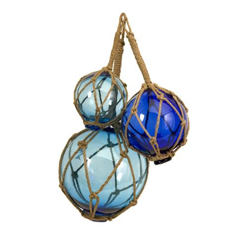Set of 3 Soothing Blue Nautical Glass Ball Decorative Fishing Floats