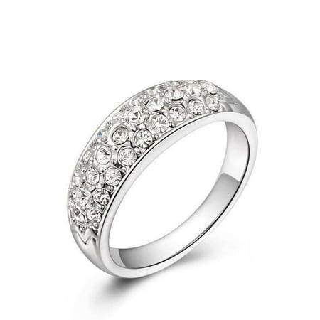 Crystal Dual Ring (CLEARANCE - 18K Gold Pave Austrian Crystals Band Cocktail Ring - Choose Your Color White Gold / 8)