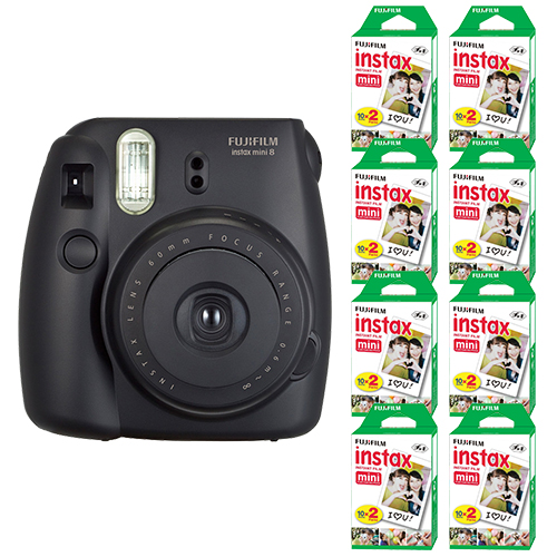 Fuji Instax Mini 8 FujiFilm Instant Film Camera Black + 160 SHeets Instant Film by Fujifilm