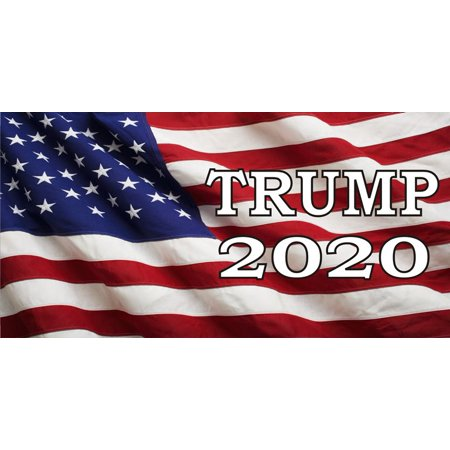 American Flag License Plate (Trump 2020 American Flag Photo License)