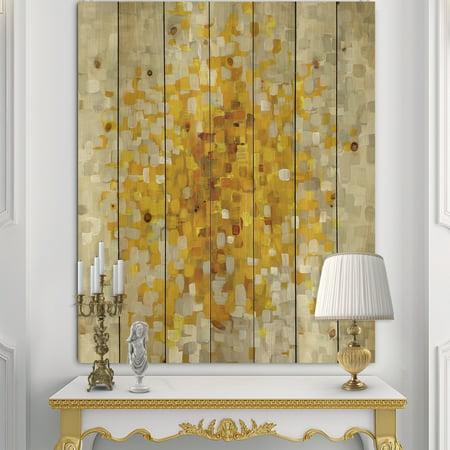 Yellow Multi Print - DESIGN ART Designart 'Glam Yellow Explosion Blocks' Modern & Transitional Print on Natural Pine Wood - Multi-color