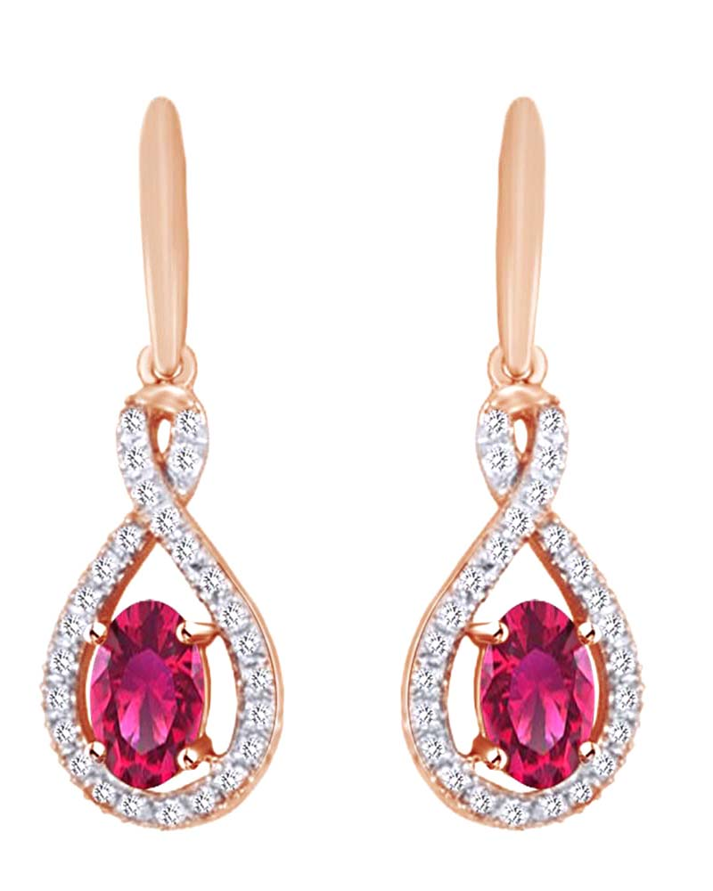 Oval Cut Simulated Pink Ruby With Natural Diamond Infinity Dangle Earrings In 10K Solid Rose Gold by Jewel Zone US