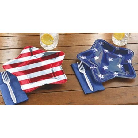 4th of July 'Stars and Stripes' Shiny Metallic Star-Shaped Paper Plates (10ct) - Fourth Of July Plates