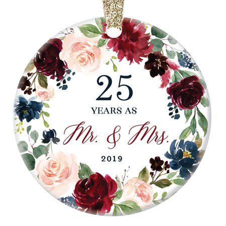 "2019 Christmas Ornament Milestone 25th Wedding Anniversary Gift Mr. & Mrs. Couple Married Twenty-Five 25 Years Beautiful Ceramic Holiday Keepsake Present Porcelain 3"" Flat with Gold Ribbon Free Box"