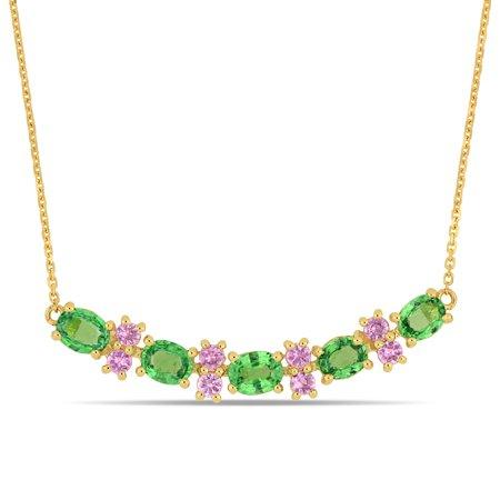 2-3/4 Carat T.G.W. Tsavorite and Pink Sapphire 14kt Yellow Gold Bar Necklace, 17