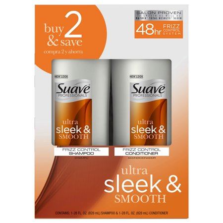 Suave Professionals Smooth and Sleek Anti Frizz Shampoo and Conditioner for Dry Hair, 28 oz, 2