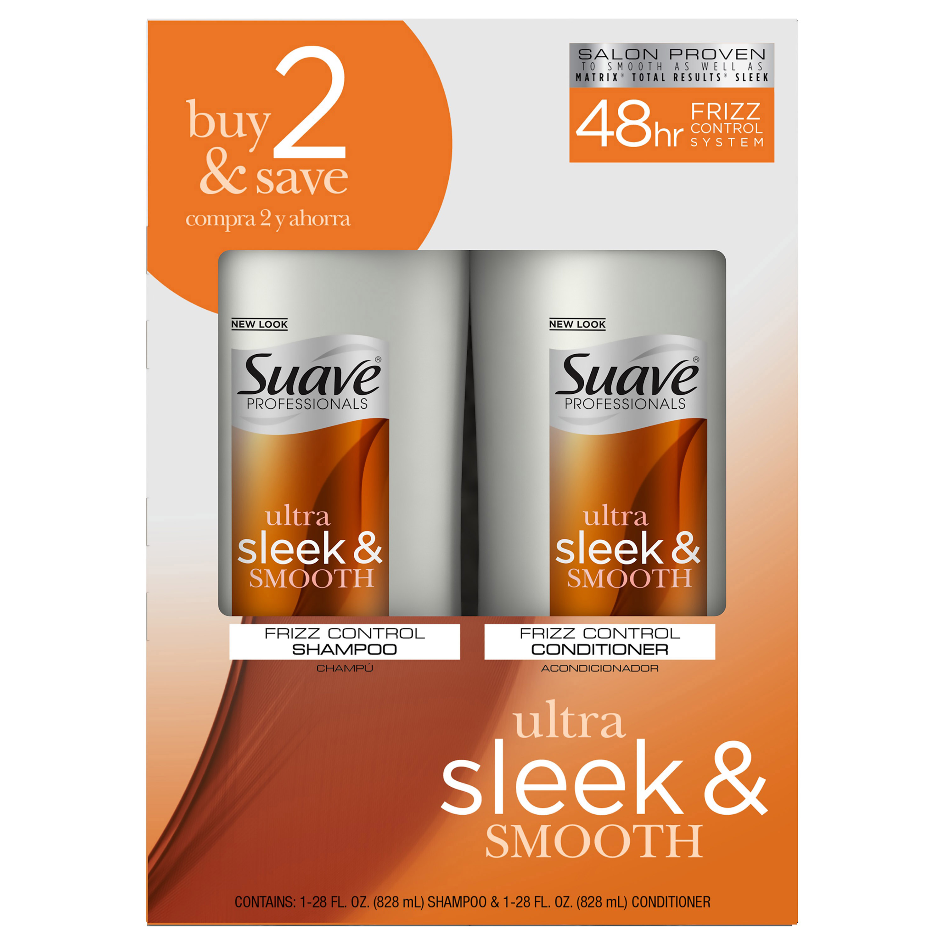 Suave Professionals Smooth and Sleek Anti Frizz Shampoo and Conditioner for Dry Hair, 28 oz, 2 count