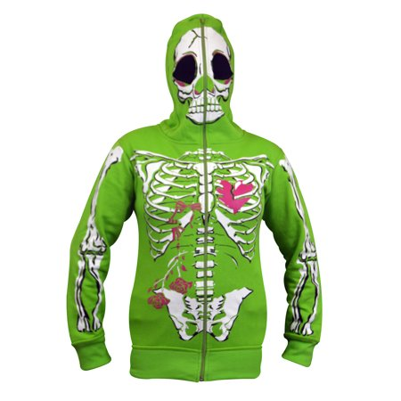 Women Full Face Mask Skeleton Skull Hoodie Sweatshirt Halloween Costume Hoodie Green Medium