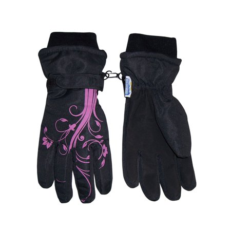 NICE CAPS Girls Kids Thinsulate Waterproof Winter Flower Print Snow Ski Gloves - Fits Childrens Childs Youth Toddlers For Cold