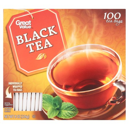 Naturally Flavored Black Tea - Great Value Black Tea Bags, 8 oz, 100 Count